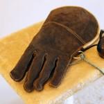 Falconer's glove and falcon hood